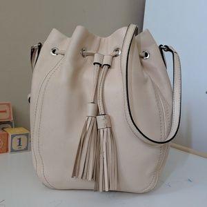 J Crew leather tassel drawstring bag